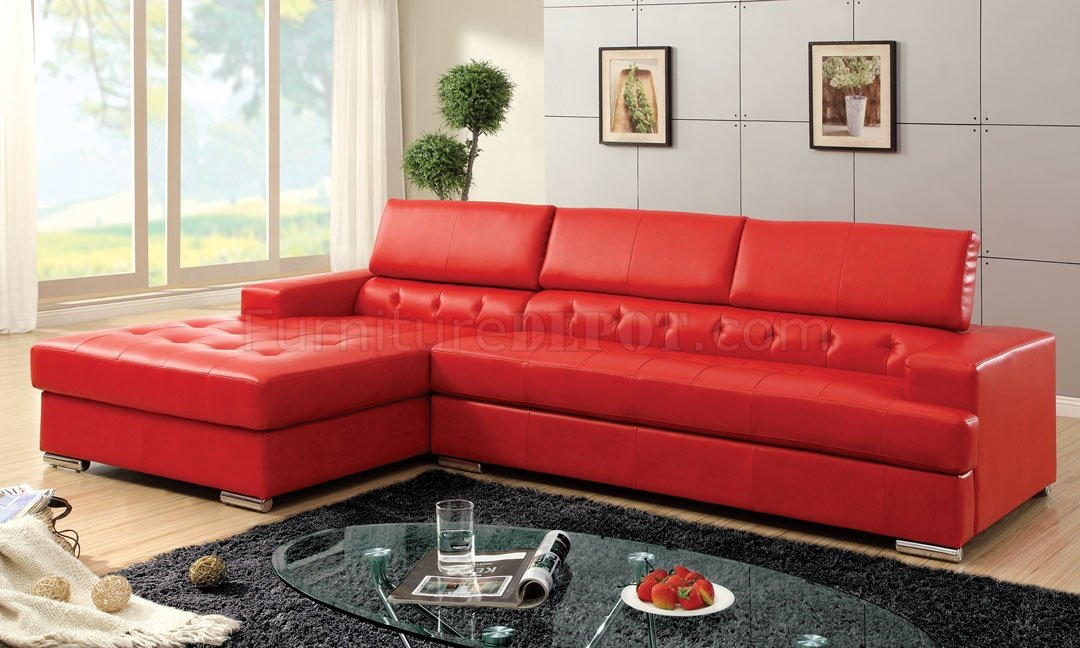 Floria Sectional Sofa CM6122RD in Red Bonded Leather Match
