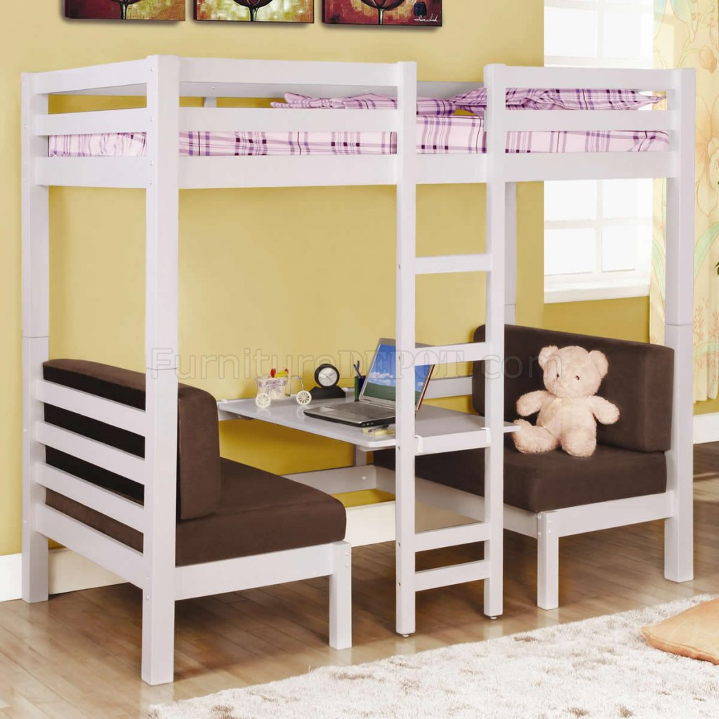 White Finish Modern Twin Over Twin Convertible Loft Bunk Bed