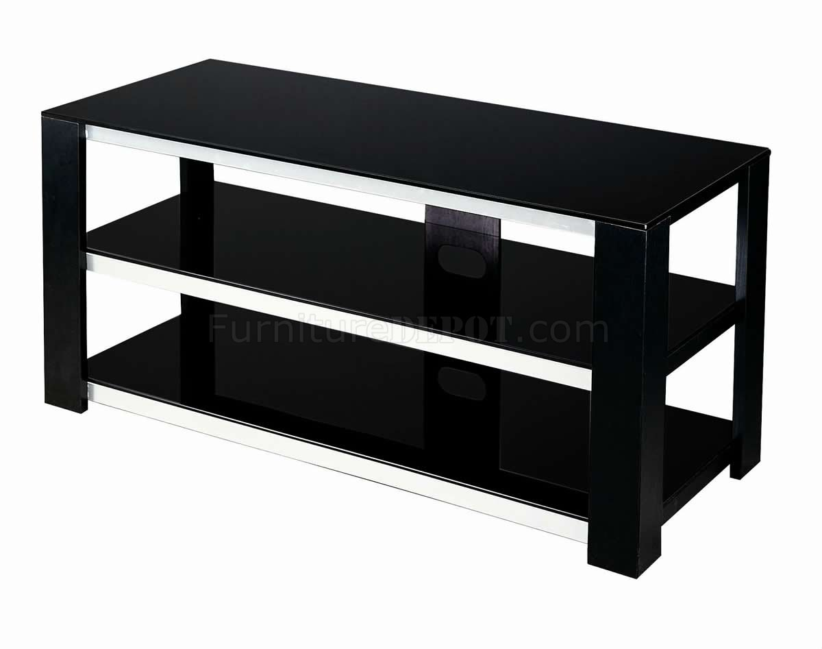 Black Metal & Glass Modern TV Stand w/Shelves