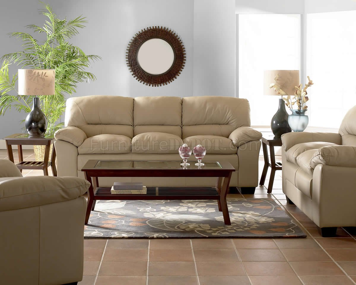 Beige Full Leather Modern Comfortable Living Room W Pillow Top MCS