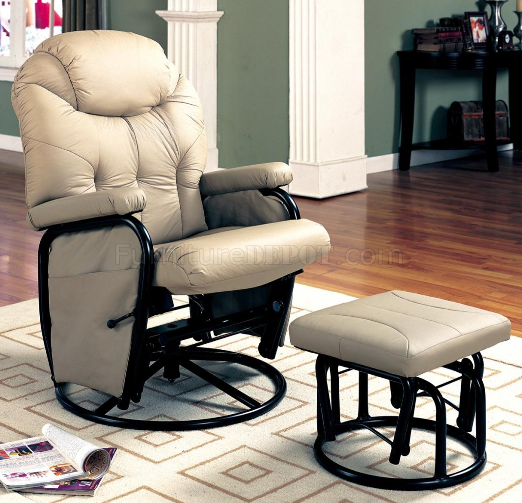 Bone Leatherette Modern Reclining Glider Rocker Chair W