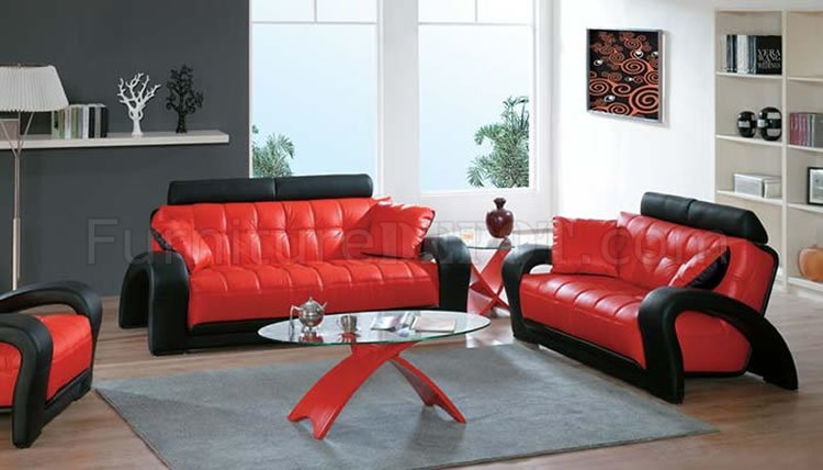 Black And Red Leather Modern Living Room Sofa