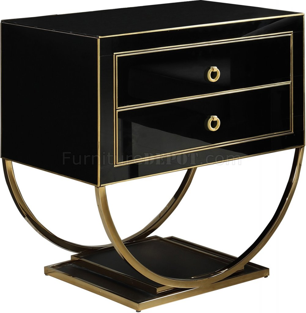 Alyssa Side Table In Black Glass By Meridian W Gold Tone Base