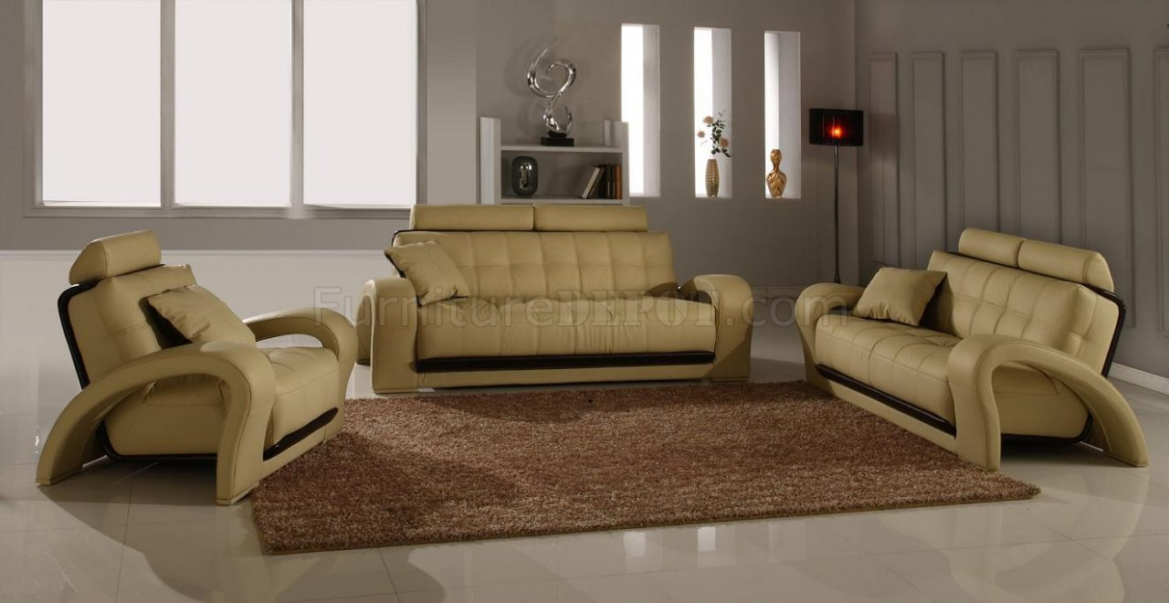 Leather Modern Living Room Set 4Pc Bentley Beige BN B201