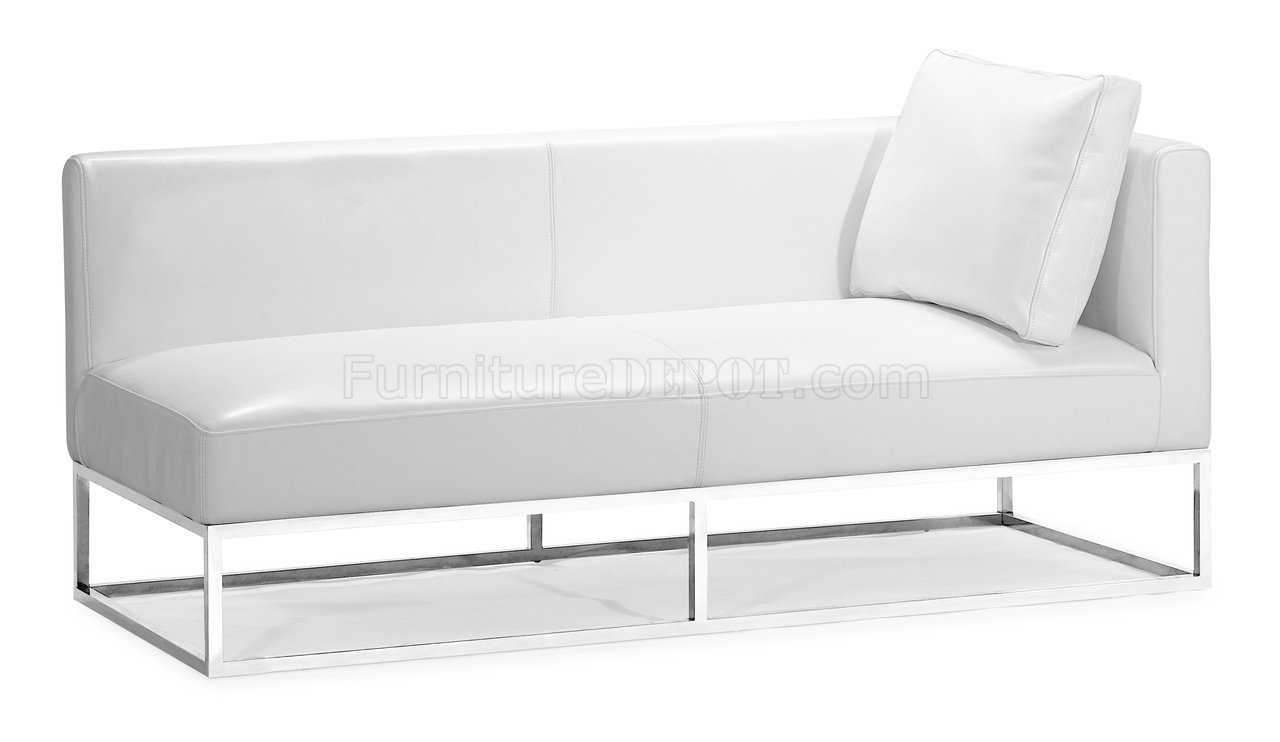 Beautiful Modern White Leather Bench Ya43