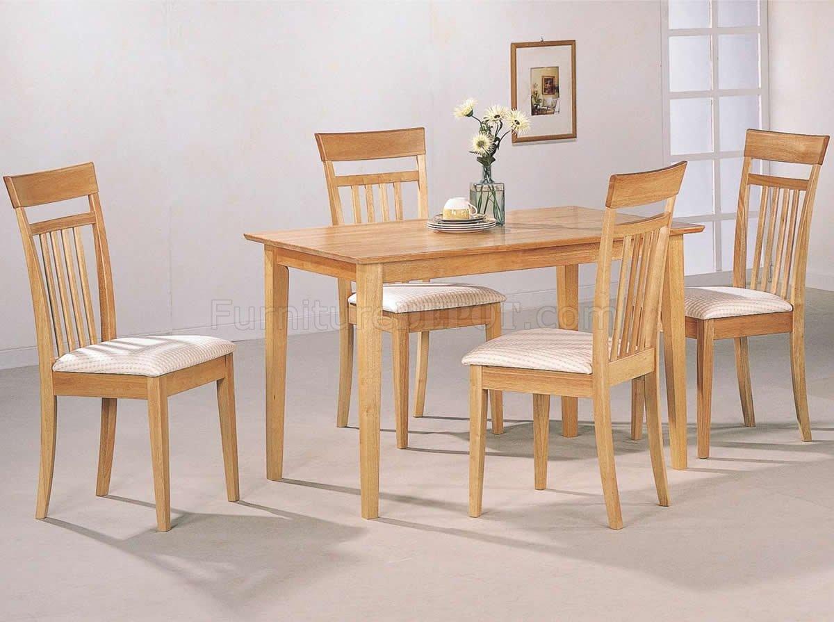 Warm Light Maple Wood Finish Modern 5pc, Maple Wood Dining Room Furniture