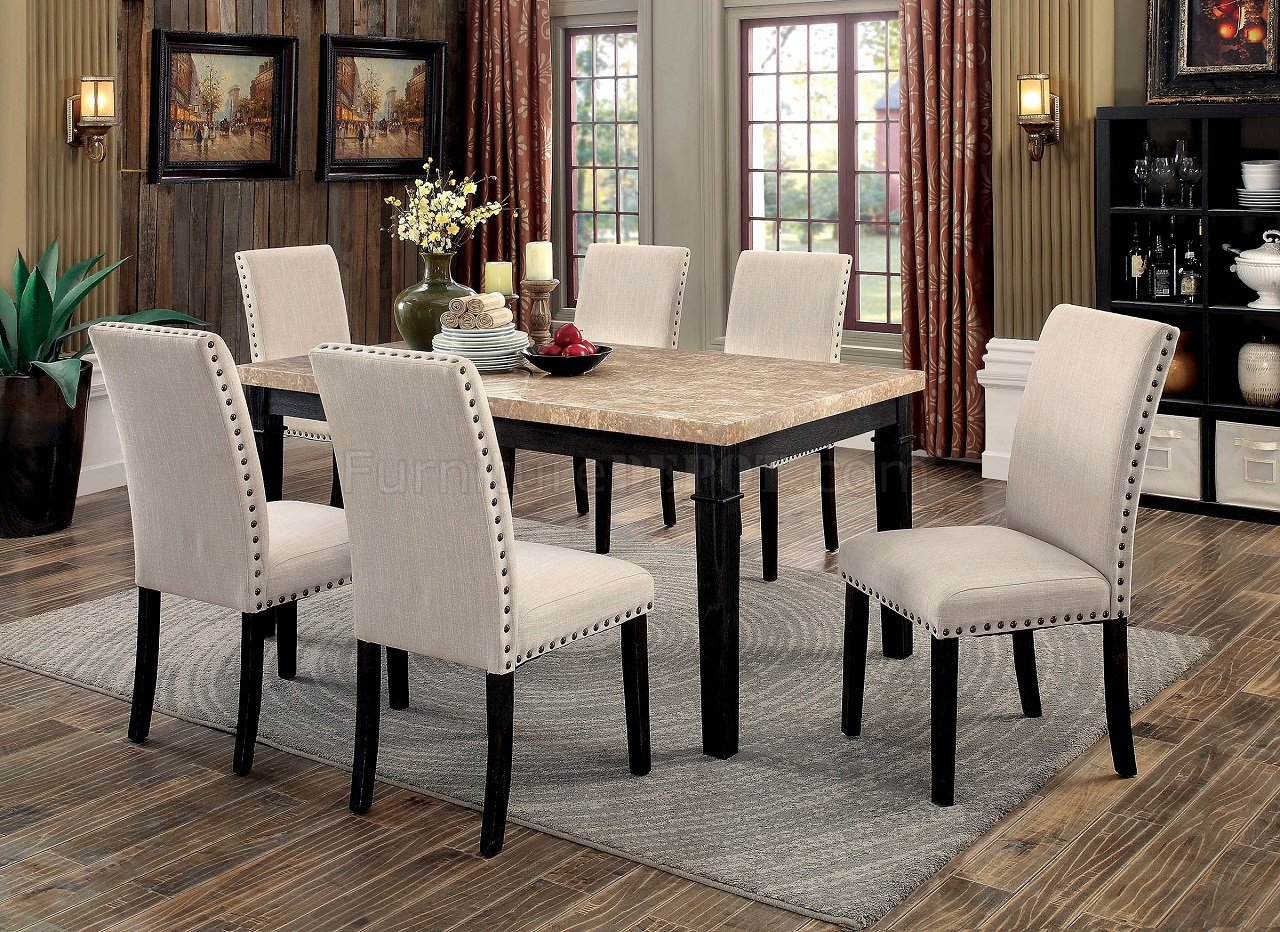 Dodson I Cm3466t 5pc Dinette Set W Faux Marble Table Top