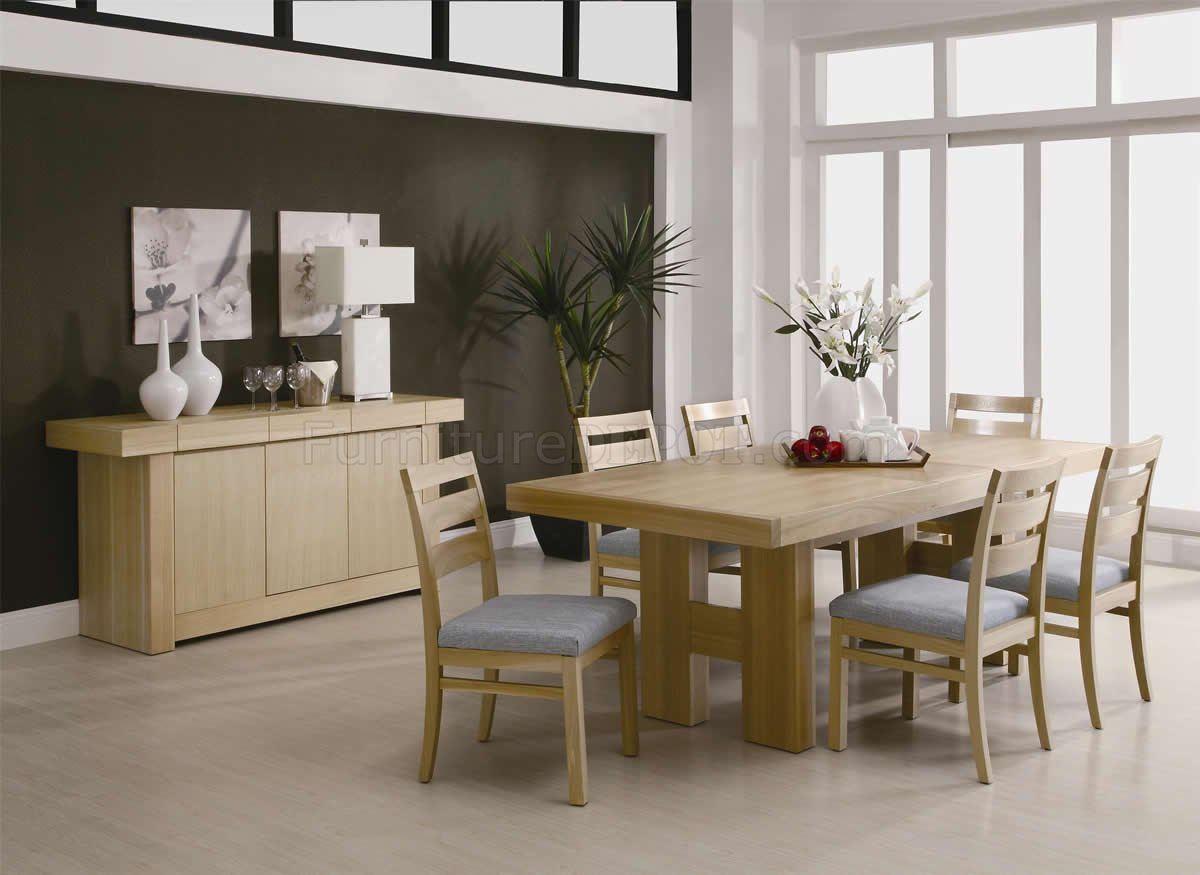 Natural light ash finish modern dining room set w options for New dining room sets