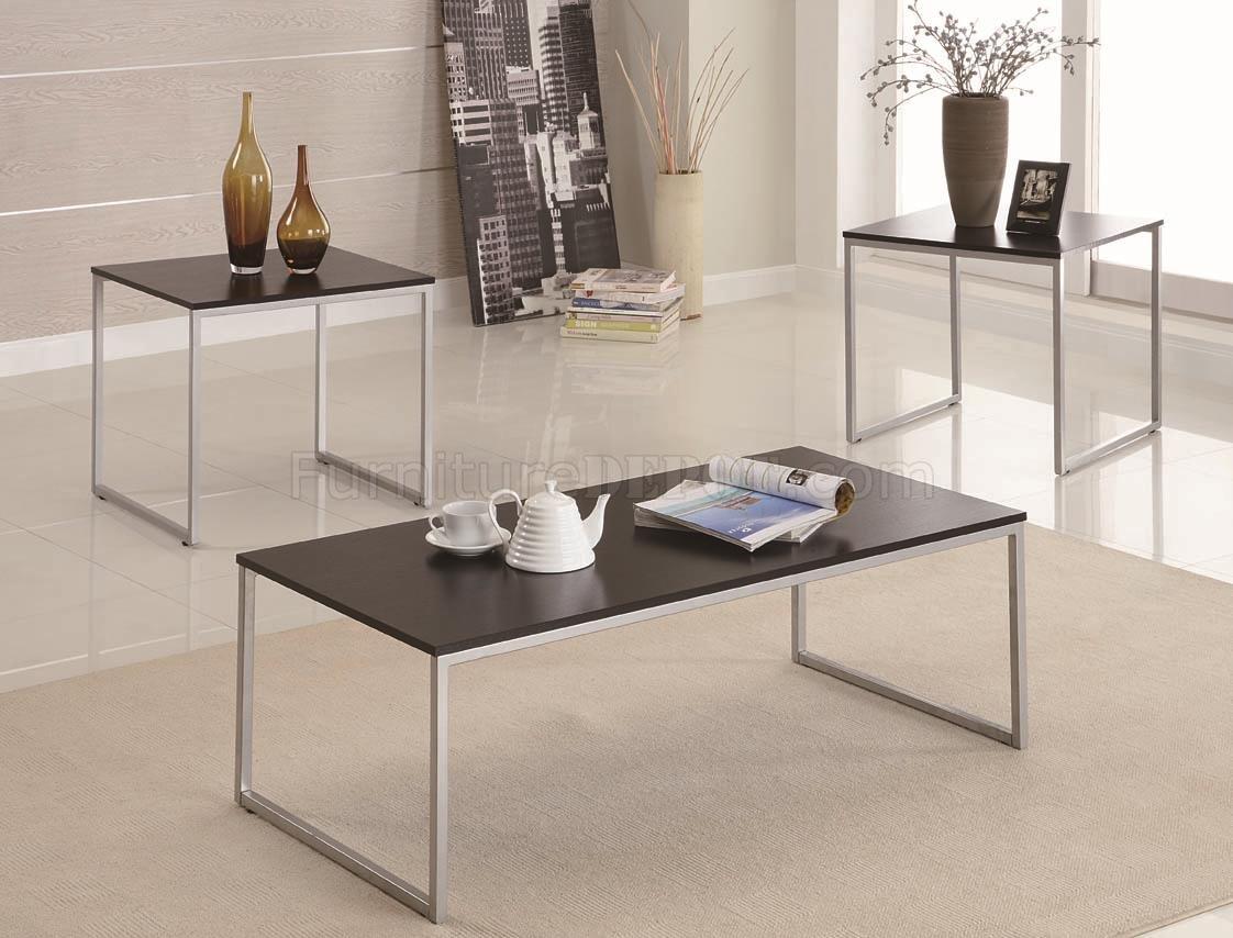 silver tone metal base & wood top modern 3pc coffee table set