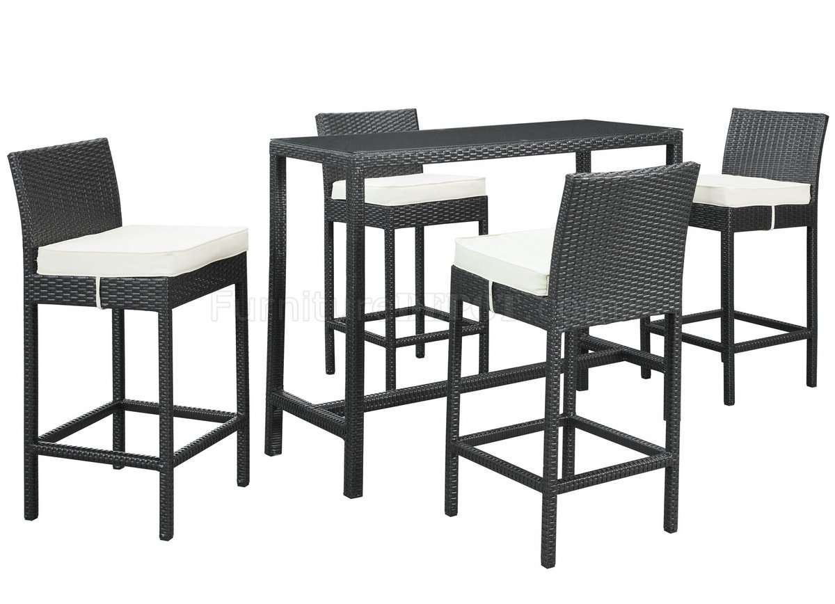 Portland 5pc outdoor patio pub set by modway in espresso for Outdoor furniture portland
