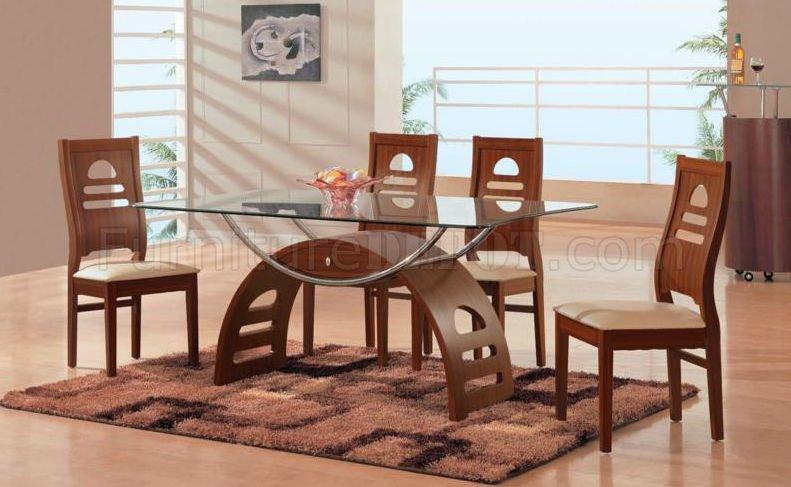 Mahogany Finish Modern 5 Pc Dining Set w/Glass Table Top