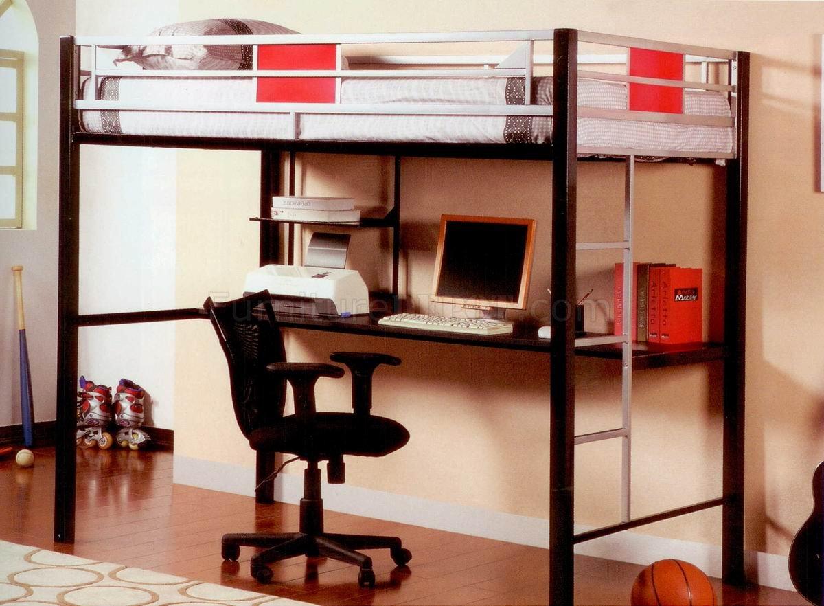 Black Metal Base Modern Loft Bed W Desk Study Chair