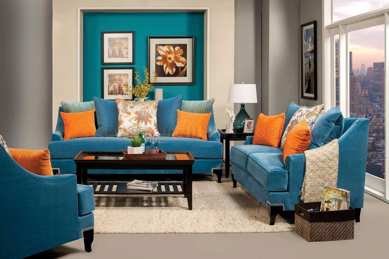 viscontti sm2203 sofa in peacock blue fabric woptions