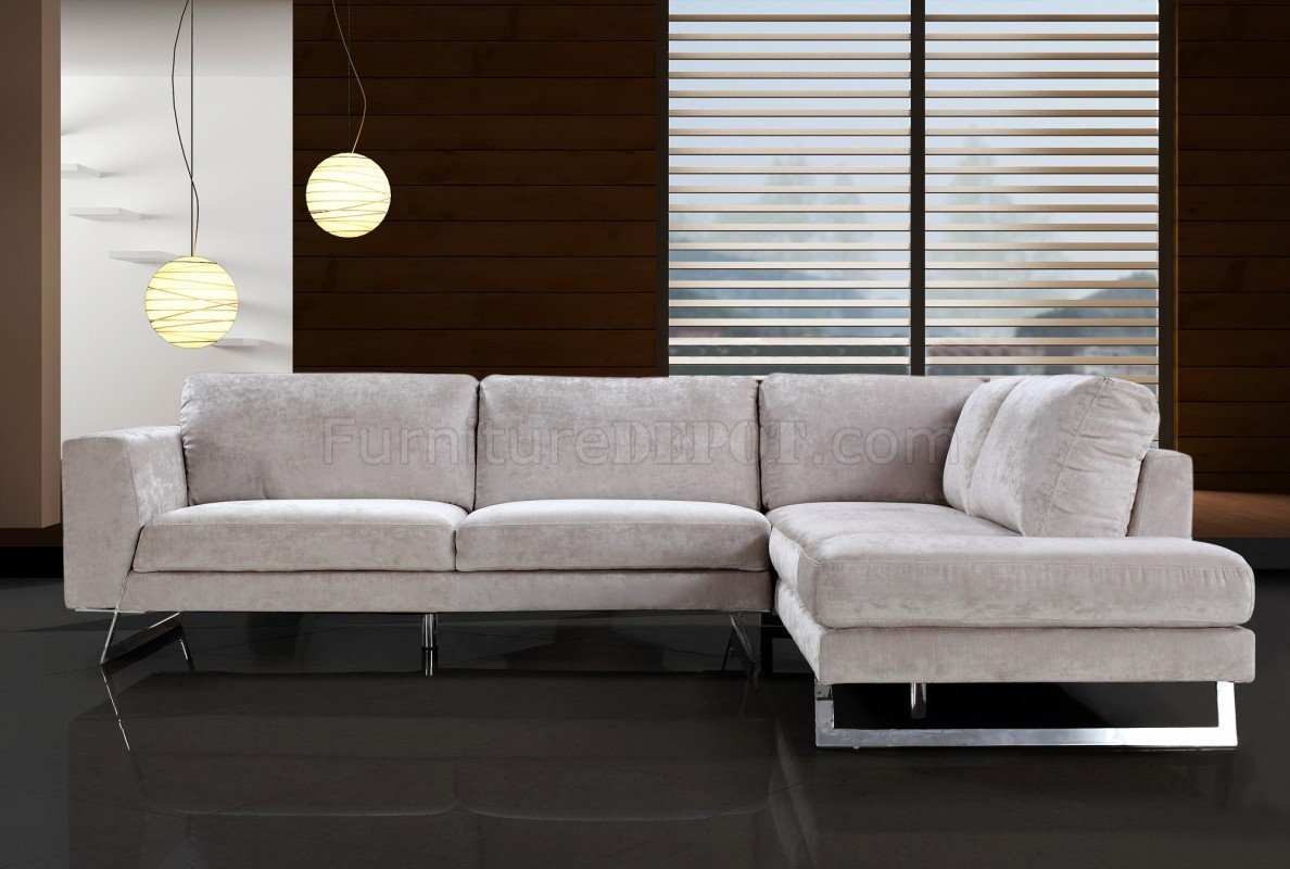 Beige Microfiber Modern Sectional Sofa W Chrome Metal Legs