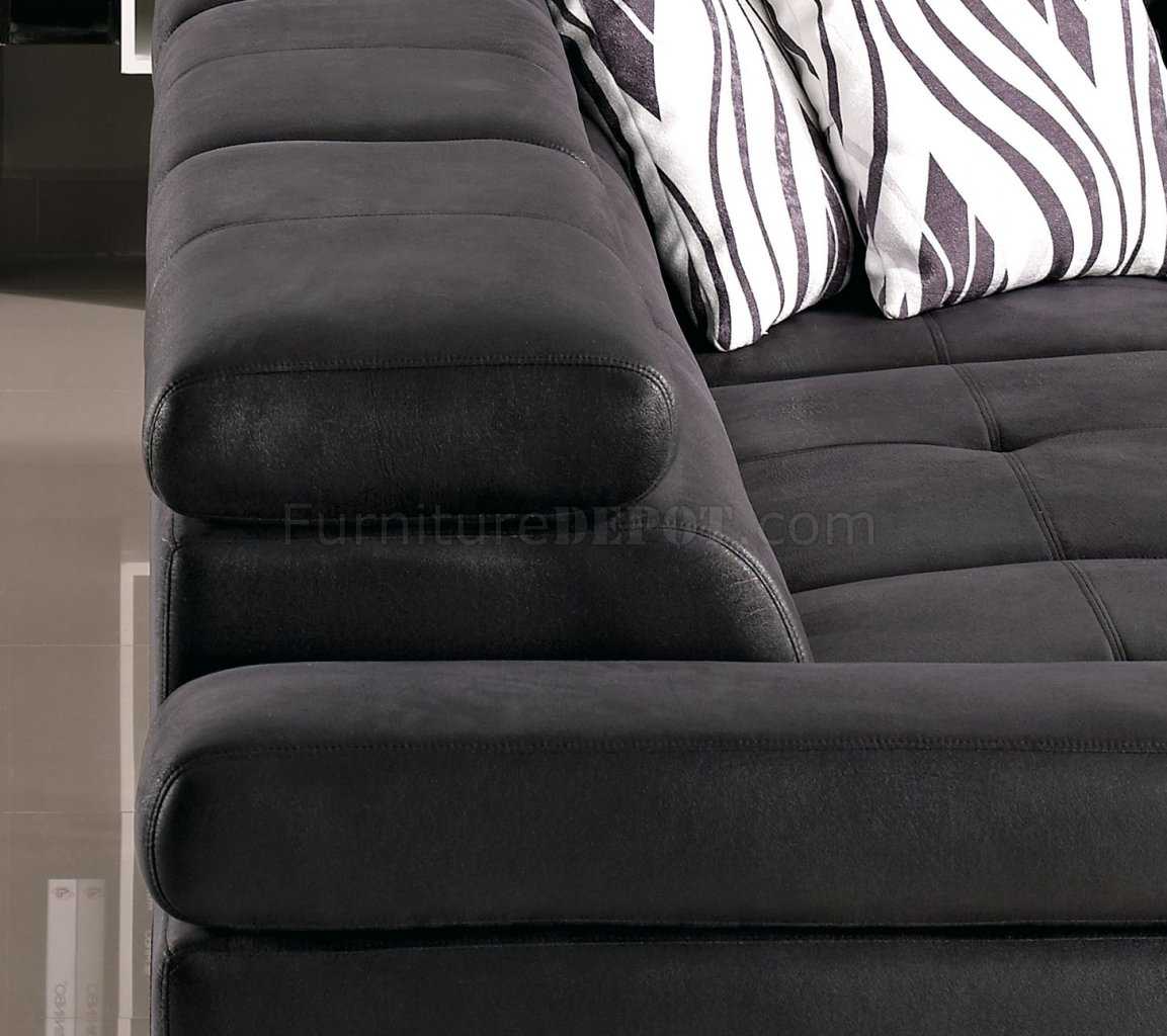 Black Fabric Modern Sectional Sofa W Adjustable Headrest