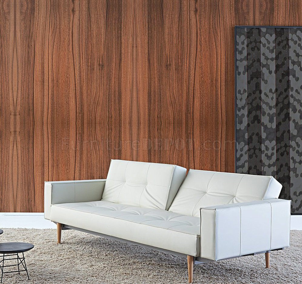 Splitback Sofa Bed In White W Arms Amp Wooden Legs By Innovation