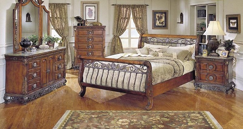 Warm Cherry Finish Traditional Sleigh Bed W Iron Gold Tone Frame