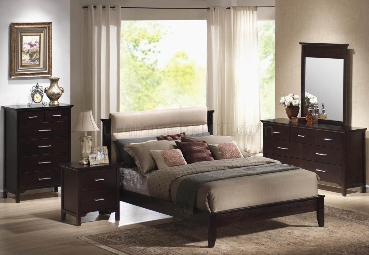 Mahogany Finish Modern Bedroom Set W Beige Microfiber
