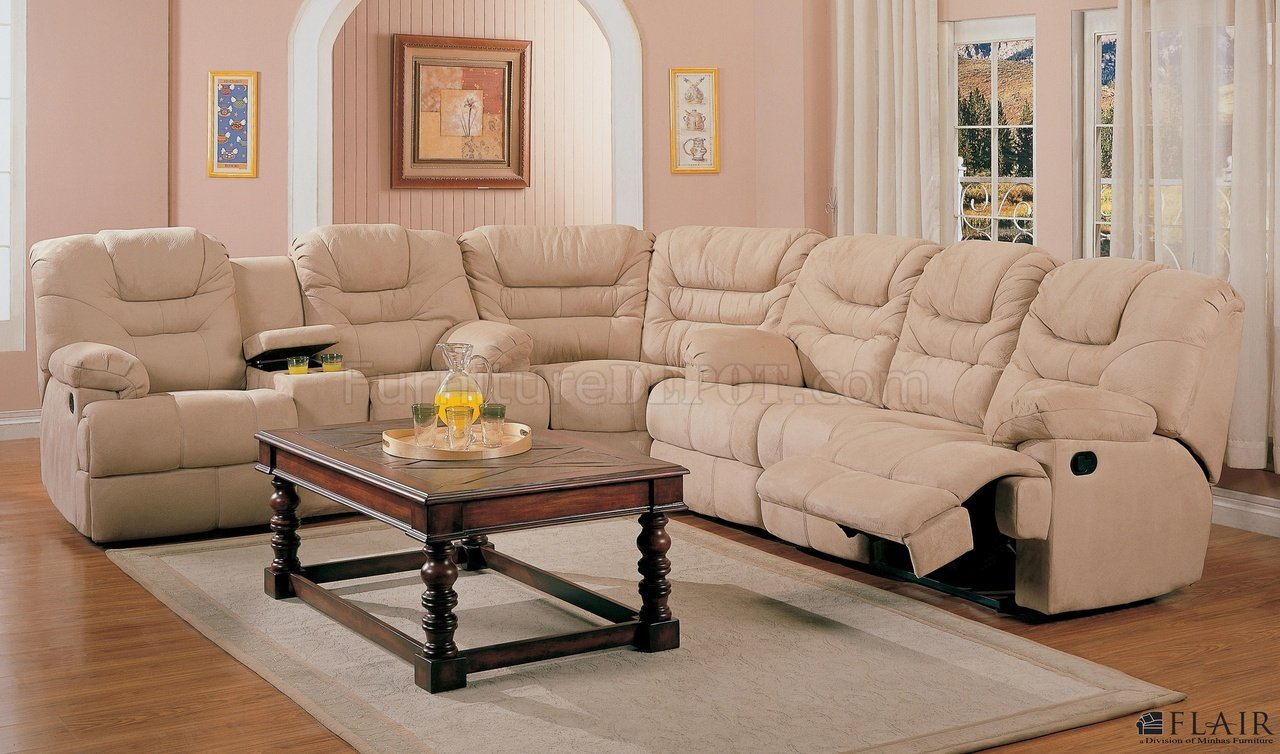 Beige Saddle Fabric Stylish Modern Reclining Sectional Sofa