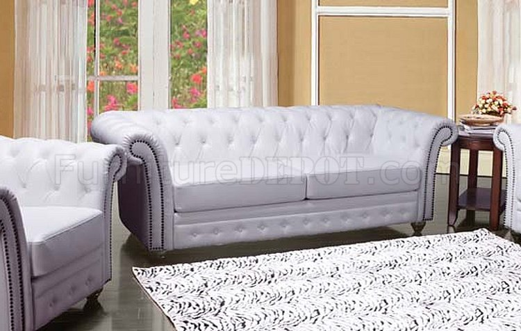 50165 Camden Sofa In White Bonded Leather By Acme W/Options