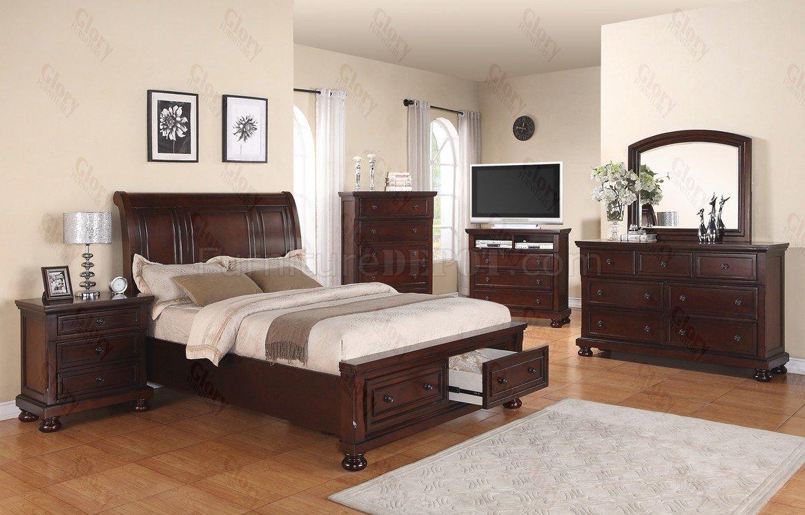 G7000 Bedroom In Dark Brown W Optional Items