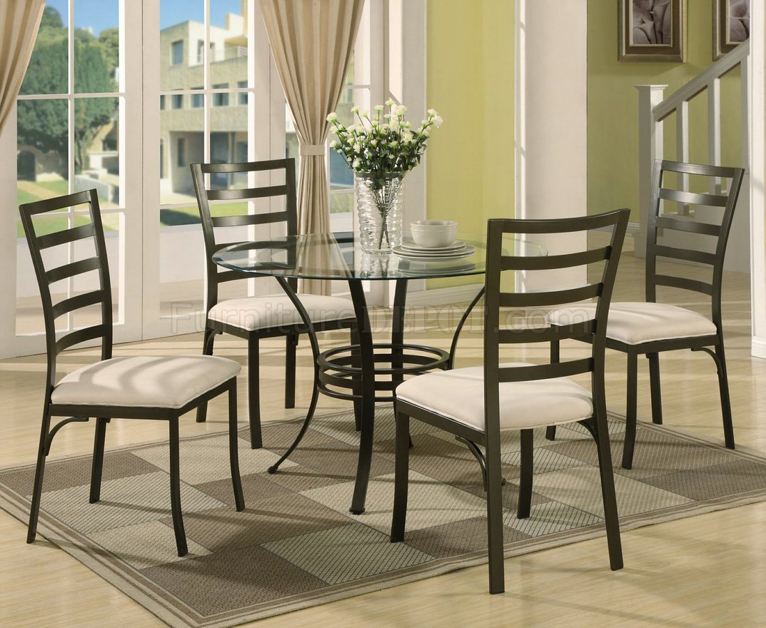 & Round Glass Top u0026 Metal Base Modern 5 Piece Dining Set