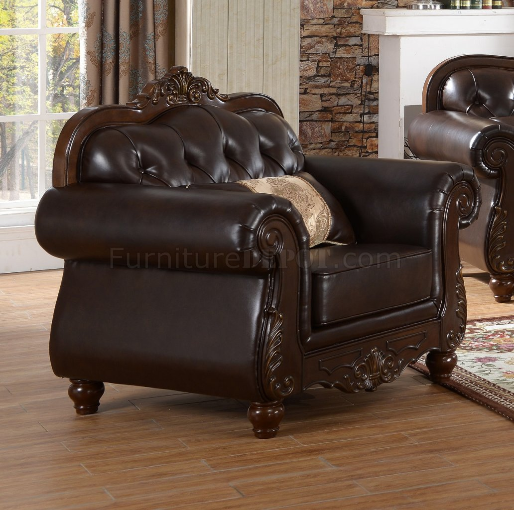 furniture sets bedroom mabel traditional sofa in brown bonded leather w optional 11627
