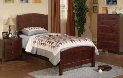 Twin Size Mattress Dimensions on Dark Cherry Finish Kids Twin Size Bed W Optional Casegoods At