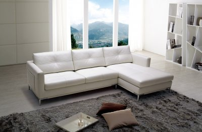 Slim Sectional Sofa By Beverly Hills In White Full Leather