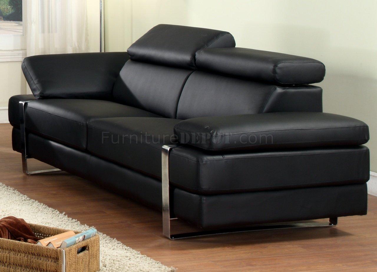 Black Bonded Leather Modern Sofa W Optional Loveseat Chair
