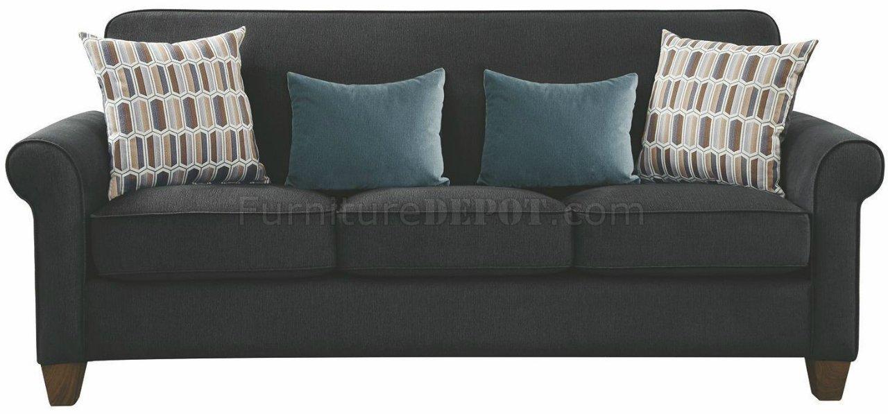 Gideon Sofa Amp Loveseat Set 506404 In Graphite Fabric By
