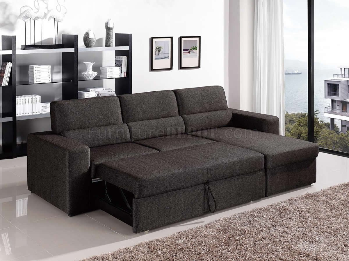 Brown Fabric Modern Convertible Sectional Sofa w/Storage