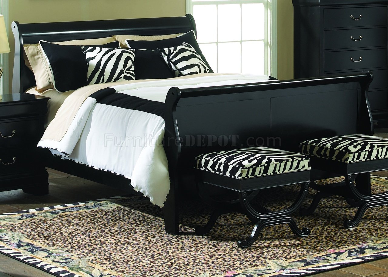 Black Finish Carrington Sleigh Bed Woptional Case Goods