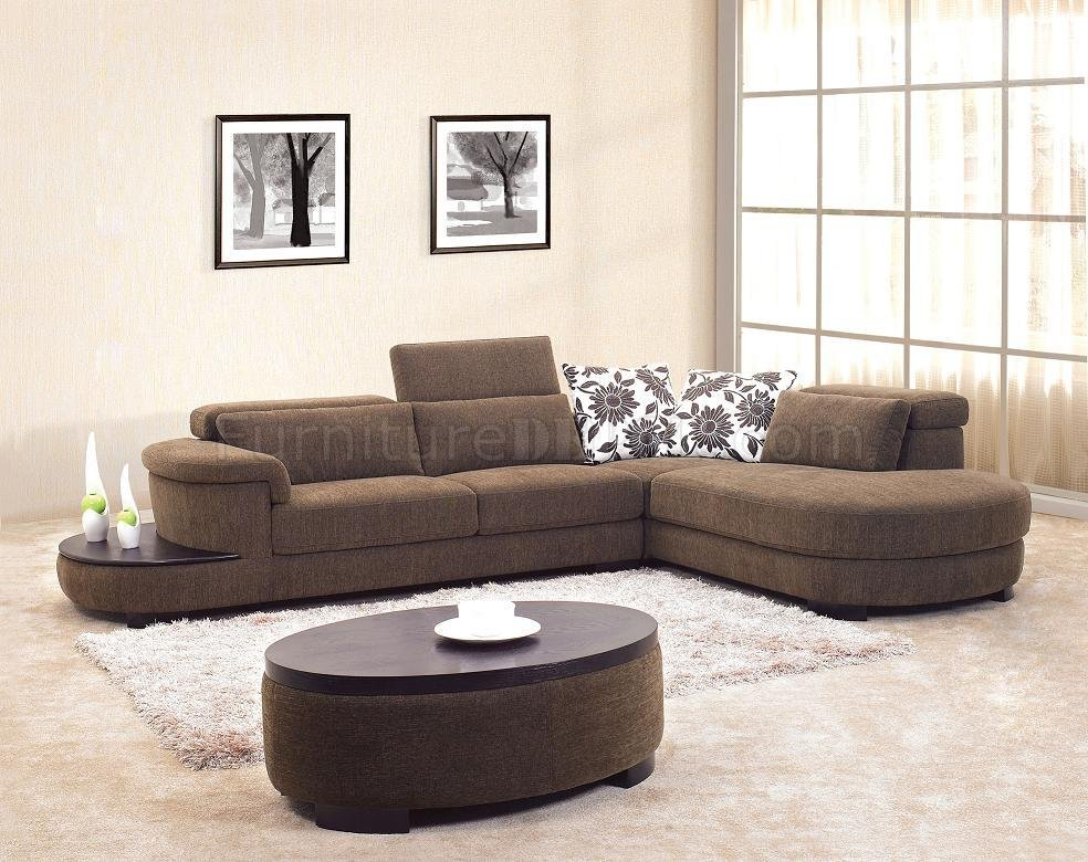 Brown Fabric Modern Sectional Sofa W Matching Coffee Table