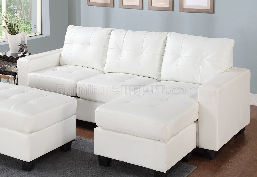 2513 Sectional Sofa Set In White Bonded Leather Match Pu