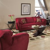 Burgundy Micro Suede Contemporary Living Room Sofa w/Options