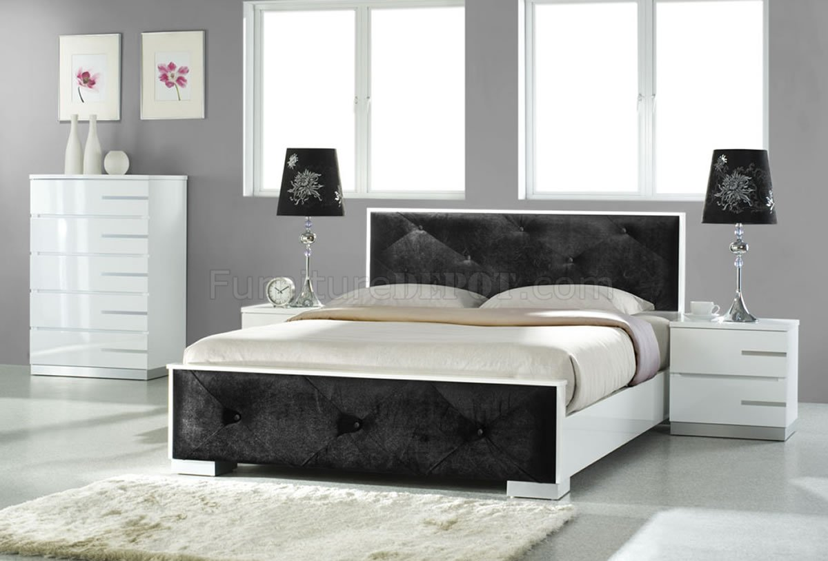 White High Gloss Finish Contemporary Bedroom W Black Leatherette