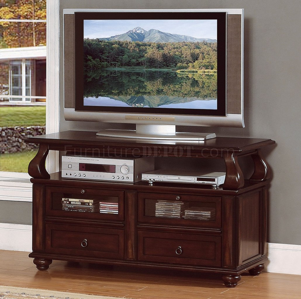 Rich Brown Cherry Finish Traditional Tv Stand W Pull Out
