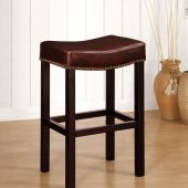 Tudor Barstools Set of 4 in Antique Brown Leather