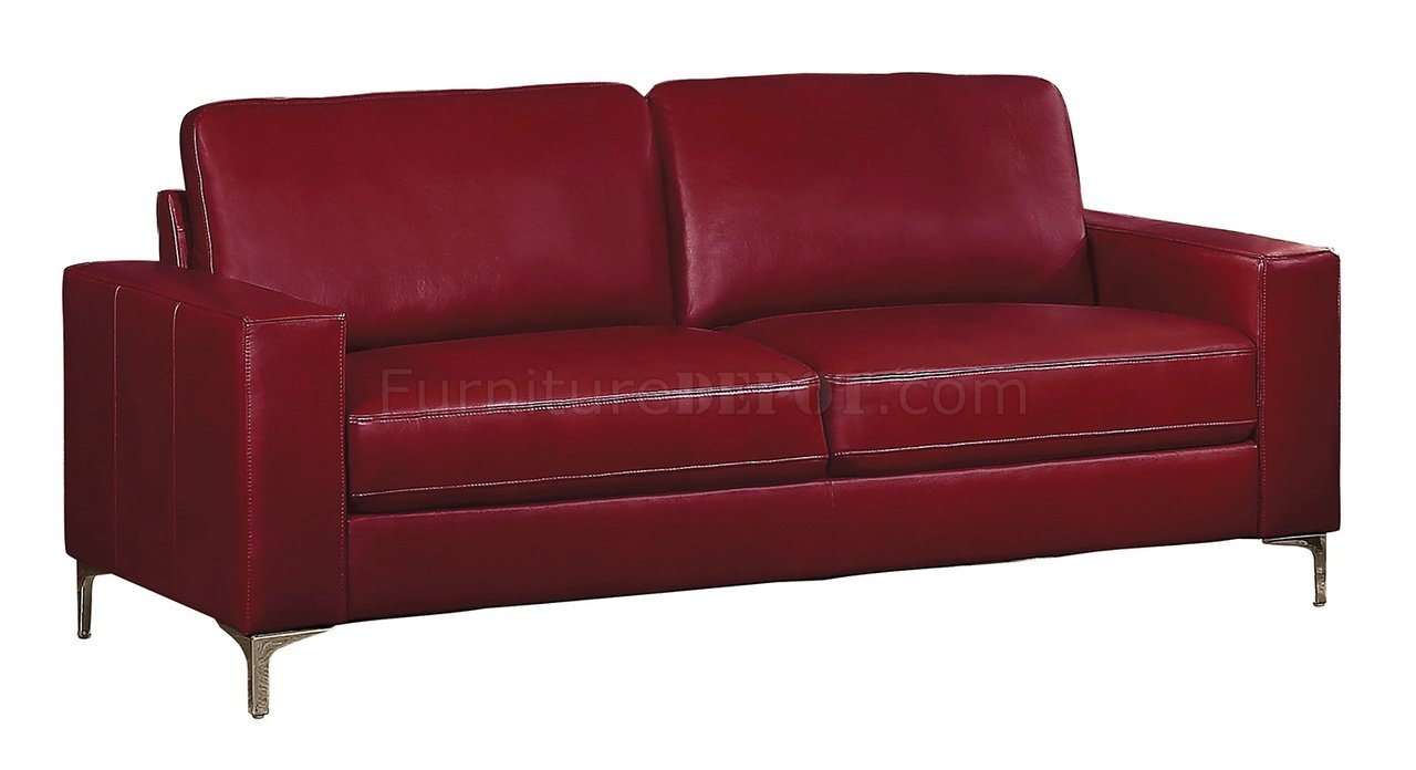Iniko Sofa 8203rd In Red Leather Gel Match By Homelegance