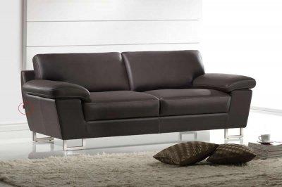 Dark Brown Leather Modern Sofa Amp Loveseat Set W Metal Legs