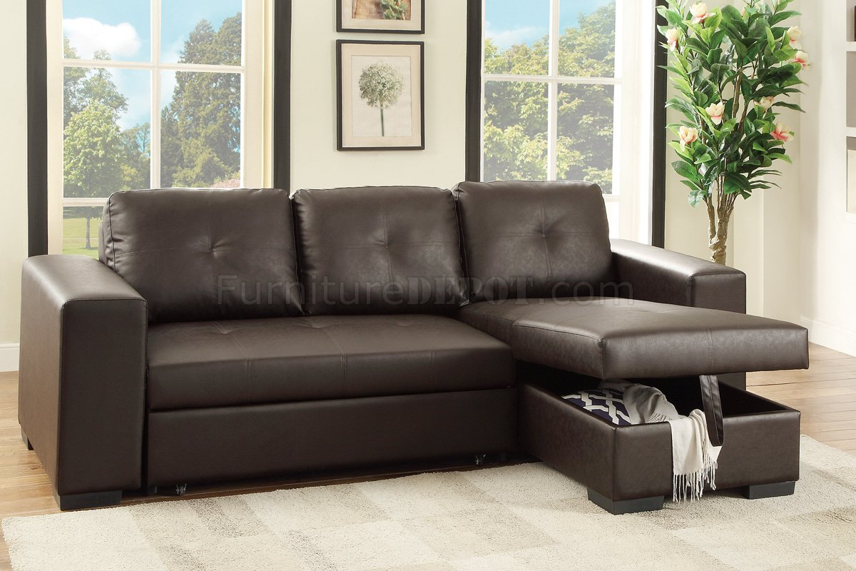 F6930 Convertible Sectional Sofa Espresso Faux Leather By Boss