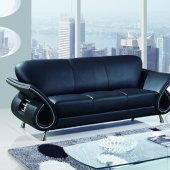Contemporary Black Leather Living Room Sofa w/Curved Arms