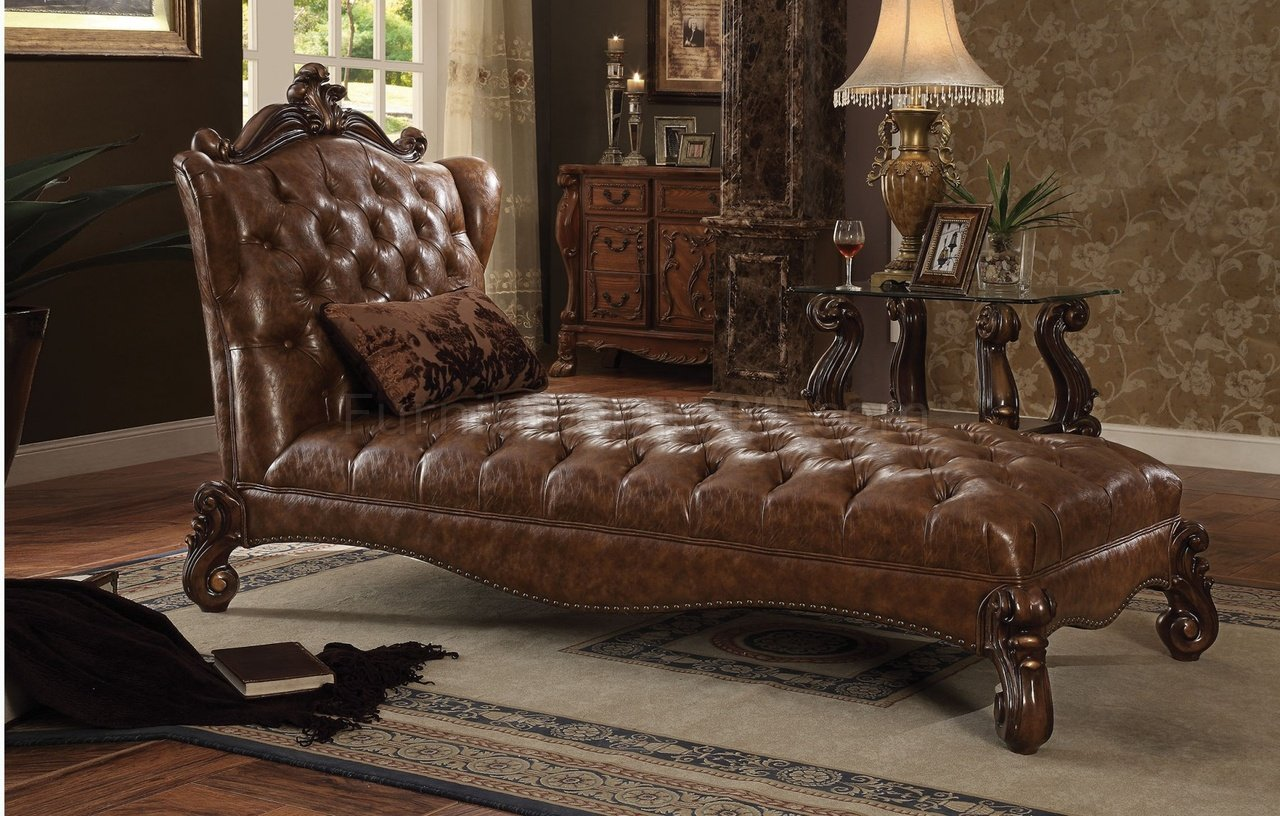 Versailles 96544 Chaise In Brown Pu By Acme
