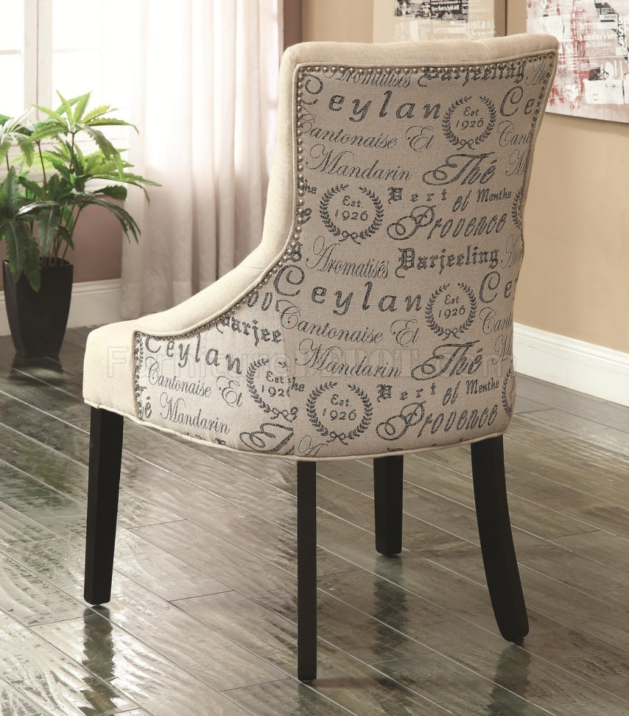 902171 Accent Chair Set Of 2 In Beige Fabric By Coaster