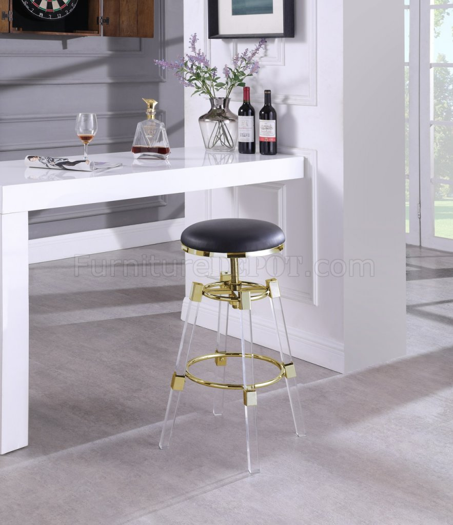 Venus Bar Stool 915 Set Of 2 In Black Faux Leather By Meridian