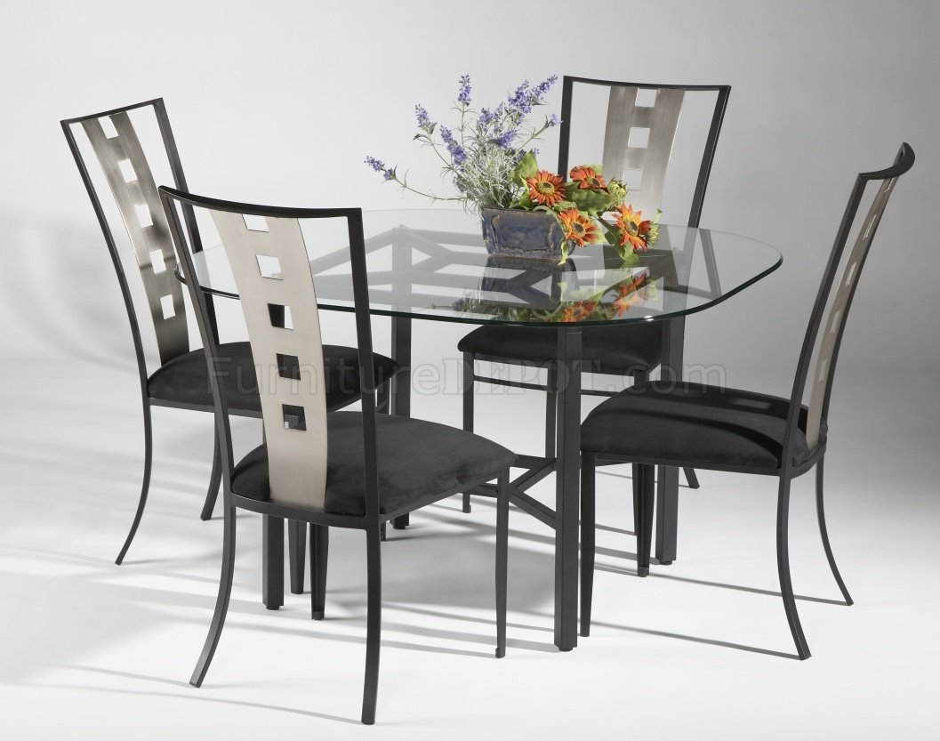 Glass Top & Black Base Modern Dining Table W/Optional Chairs
