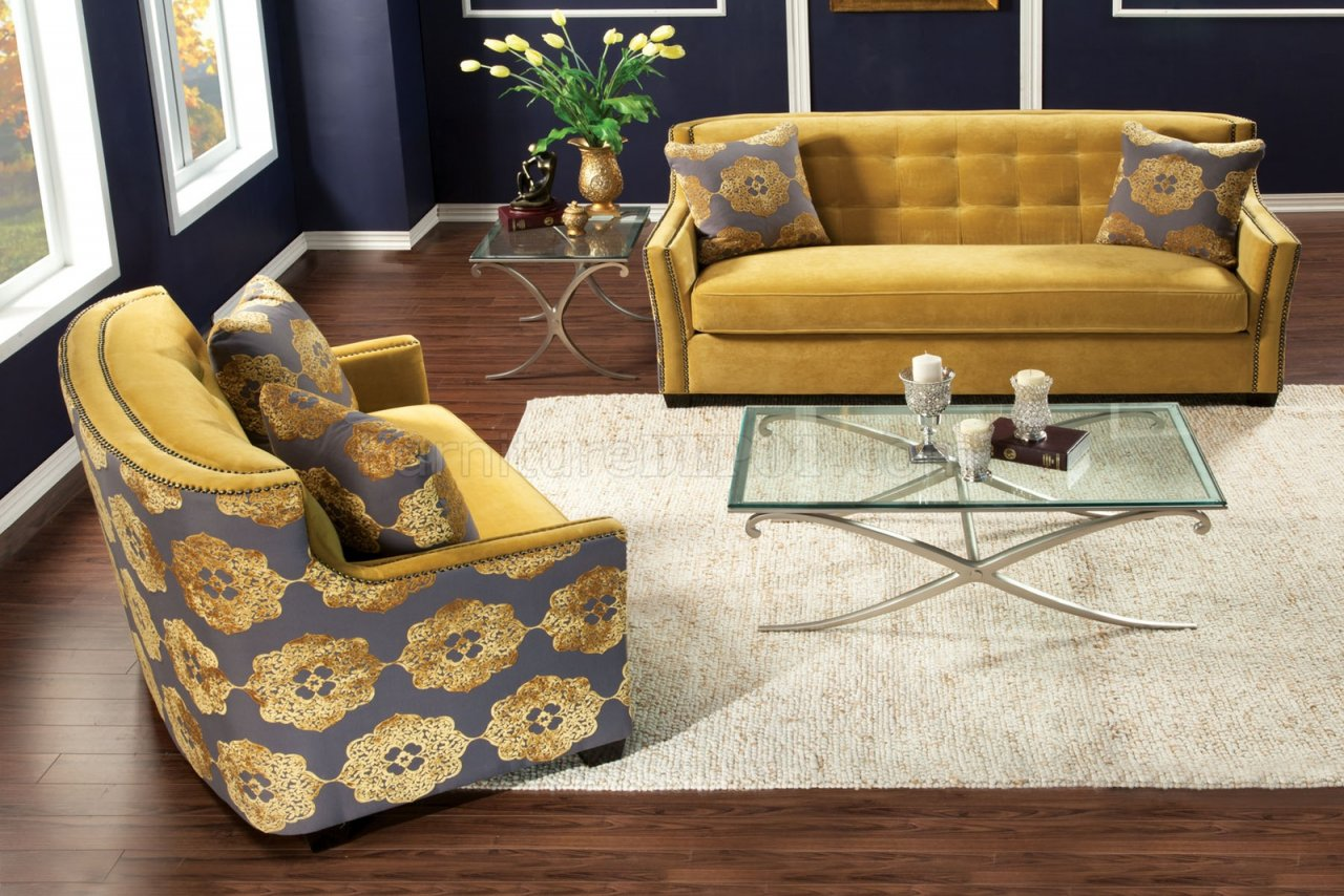 Sm2211 Federico Sofa In Gold Tone Fabric W Options