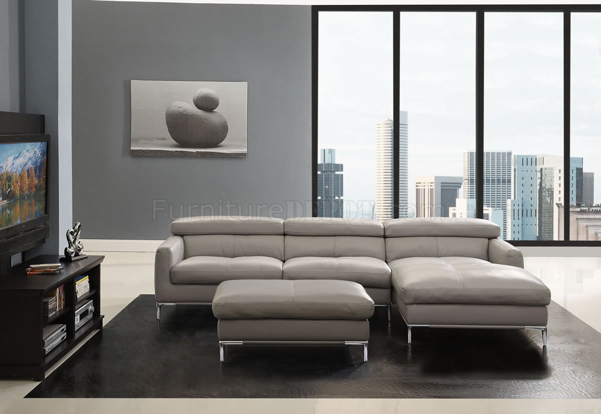 Light Grey Full Leather Modern Sectional Sofa W Optional Ottoman
