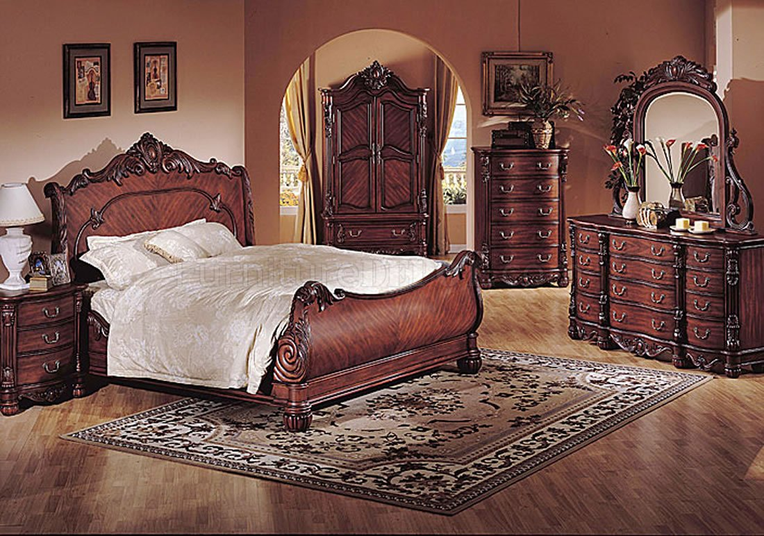 Deep cherry finish classic traditional bedroom w sleigh bed for Traditional bedroom furniture